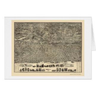 Yonkers, mapa panorámico de NY - 1899 Tarjetón