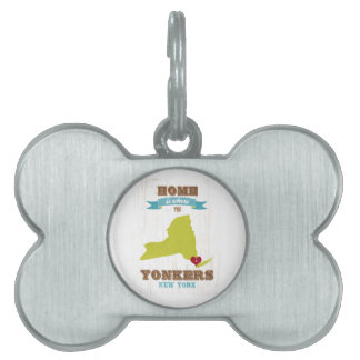 Yonkers, New York Map – Home Is Where The Heart Is Pet Name Tag