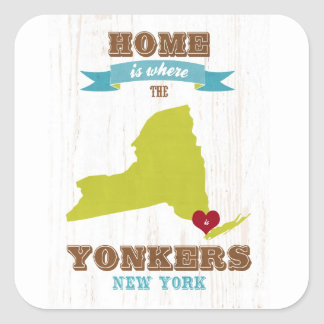 Yonkers, New York Map – Home Is Where The Heart Is Square Sticker