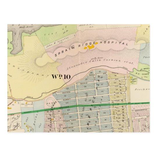 Yonkers NY Atlas Map Postcard
