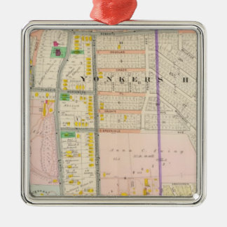 Yonkers NY Map Atlas Metal Ornament