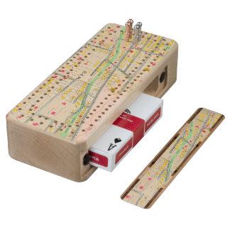 Yonkers NY Map Wood Cribbage Board