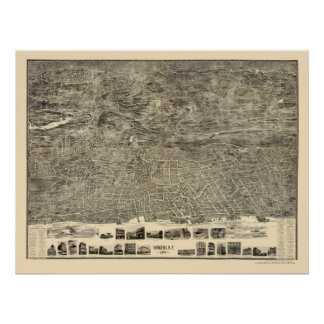 Yonkers, NY Panoramic Map - 1899 Poster
