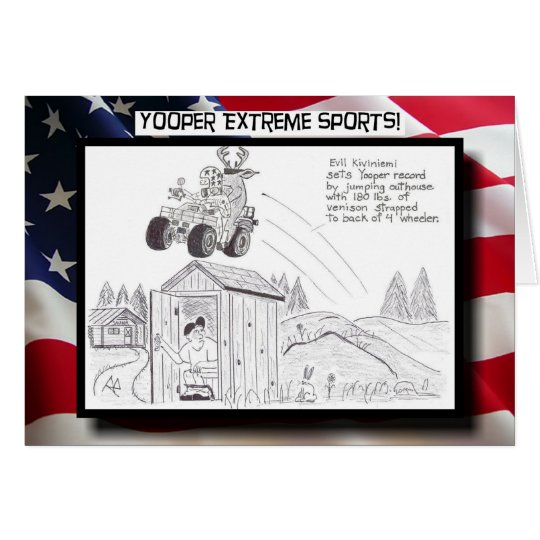 Yooper Extreme Sports! Outhouse Jump Greeting Card