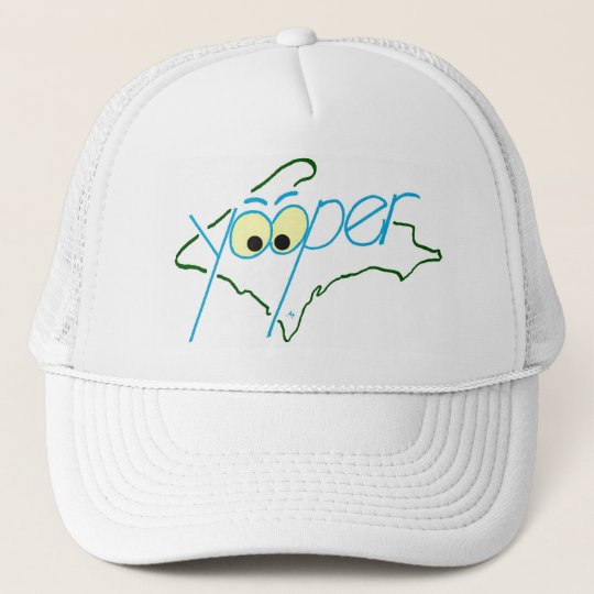 YOOPER HAT, WHITE TRUCKER HAT