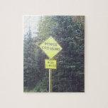 Yooper Moose Crossing Sign Jigsaw Puzzle