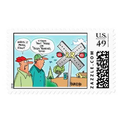 Yoopers Toivo and Eino Look At Railroad Signal Postage