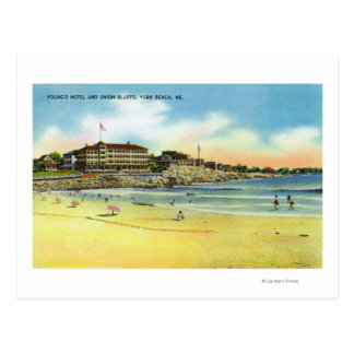 York Beach View of Young s Hotel and Union Postcard