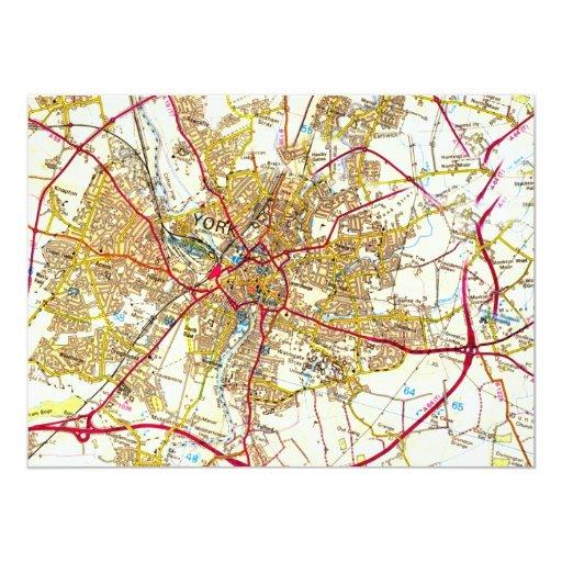 "York City Old Map Invitation 5.5"" X 7.5"" Invitation Card"