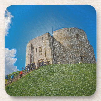 York, Cliffords tower in plastic Drink Coaster
