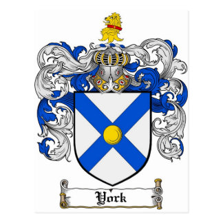 York Coat of Arms / York Family Crest Postcard