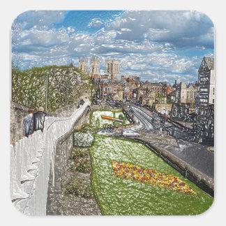York de la pared de la ciudad pegatina cuadrada