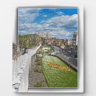 York de la pared de la ciudad placa para mostrar