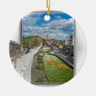 York from the city wall ceramic ornament
