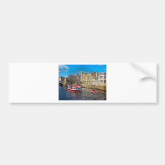 York Guildhall with river boat Car Bumper Sticker