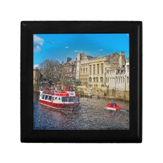 York Guildhall with river boat Jewelry Box