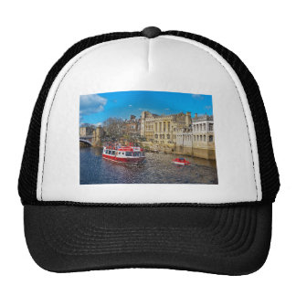York Guildhall with river boat Mesh Hats