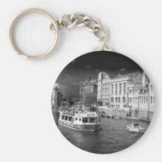York Guildhall with river boat Keychain
