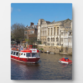 York Guildhall with river boat Plaques