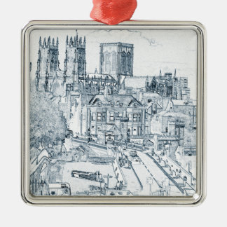 York, in pen and ink metal ornament