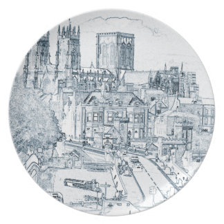 York, in pen and ink dinner plate