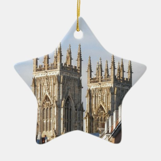 York Minster England Double-Sided Star Ceramic Christmas Ornament