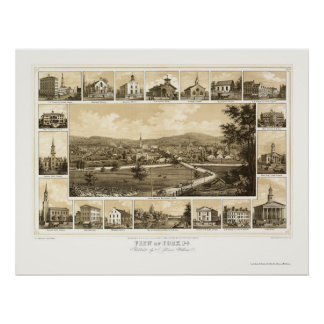 York, PA Panoramic Map - 1852 Poster