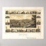 York Pennsylvania 1852 Antique Panoramic Map Poster