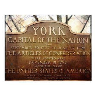 York Pennsylvania Nation's First Capital Postcard