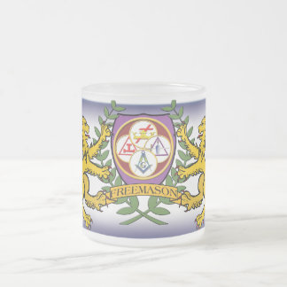 York Rite Lions Frosted Glass Coffee Mug