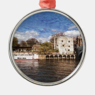 York river Ouse on texture Metal Ornament