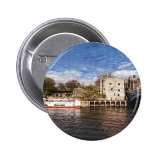 York river Ouse on texture Pinback Button