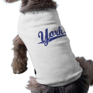York script logo in blue distressed shirt