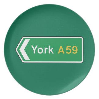York señal de tráfico BRITÁNICA Plato Para Fiesta