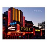 York Theater Marquee, Restored Gem In Elmhurst Il. Postcard