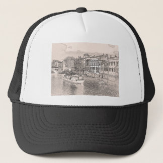 York with pencil and tint trucker hat