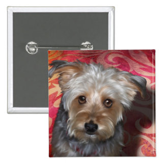 Yorkie 2 Inch Square Button