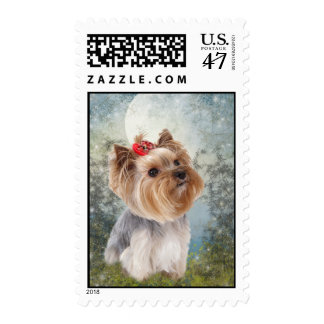 Yorkie against moon Postage Stamps