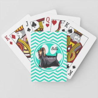 Yorkie; Aguamarina Chevron verde Cartas De Póquer