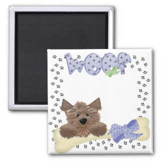 Yorkie and bone Woof 2 Inch Square Magnet