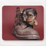 Yorkie and boot mouse pad