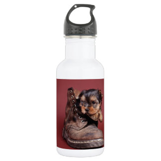 Yorkie and boot stainless steel water bottle