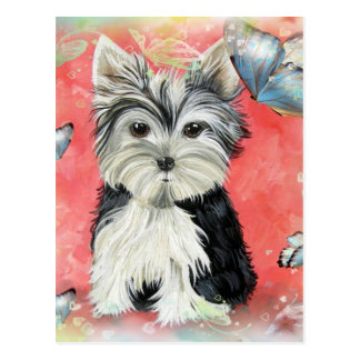 Yorkie and Butterflies  Design Post Card