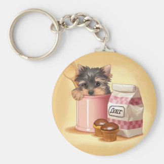 Yorkie and chocolate cupcakes keychain