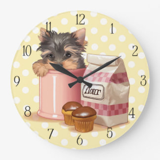 Yorkie and chocolate cupcakes large clock