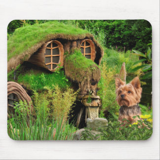 Yorkie and fantasy dog house mouse pad