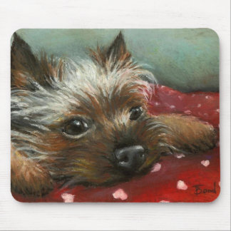 Yorkie and hearts mouse pad