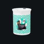 """Yorkie; Aqua Green Chevron Beverage Pitcher<br><div class=""""desc"""">I love my Yorkie,  Yorkshire Terrier!  Features paw print with cool,  cute  aqua green,  turquoise and white chevron stripes   pattern.  Great gift for pet owners,  groomers,  dog walkers,  or sitters!  Animal lovers can personalize this design by added their name or their pets name!</div>"""