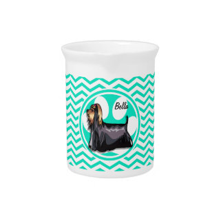 Yorkie; Aqua Green Chevron Beverage Pitcher