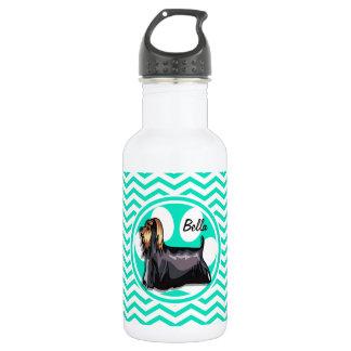 Yorkie; Aqua Green Chevron Stainless Steel Water Bottle
